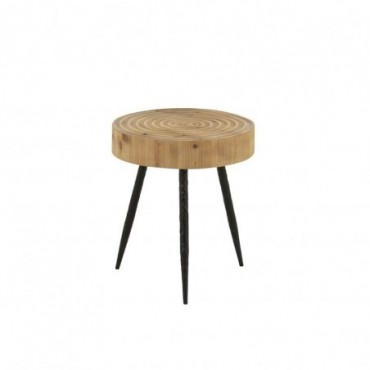 Table Gigogne Cercles Bois/Metal Naturel/Noir