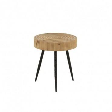 Table Gigogne Cercles Bois/Metal Naturel/Noir