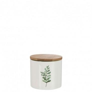 Pot A Provision Eucalyptus Porcelaine Blanc/Vert Petite taille