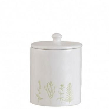 Pot A Provision Herbes Ceramique Blanc/Vert