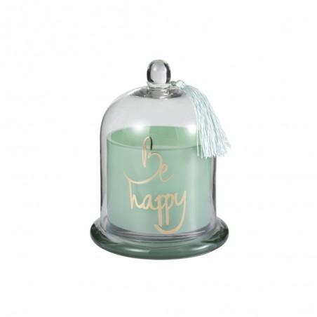 Bougie Parfumée Cloche Happy Verre Vert L-50H