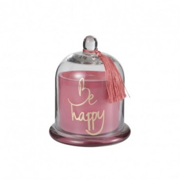 Bougie Parfumée Cloche Happy Verre Rose L-50H
