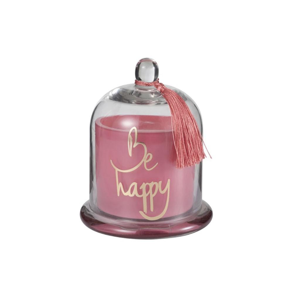 Bougie Parfumée Cloche Happy Verre Rose L-50H