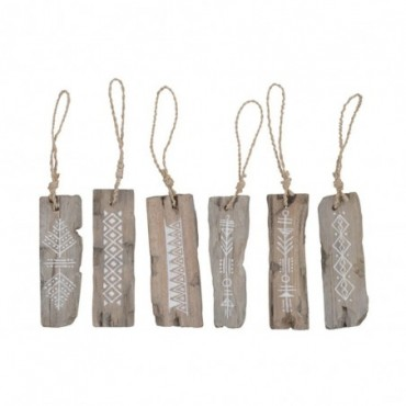 Suspension Boho Bois Naturel Assortiment 6