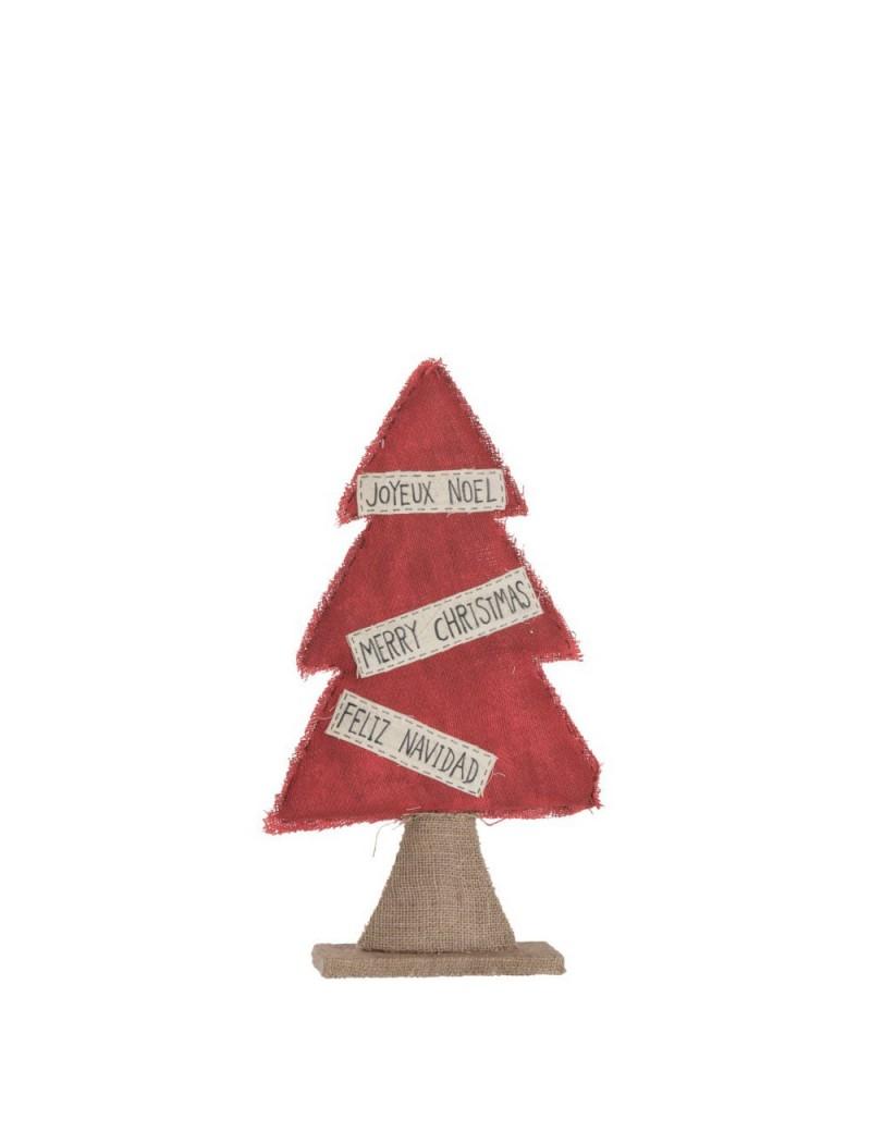 Sapin Noel Deco Textile Jute/Rouge L