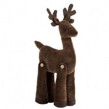 Cerf Debout Velours Marron Mix L