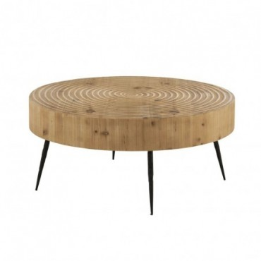 Table De Salon Cercles Bois/Metal Naturel/Noir