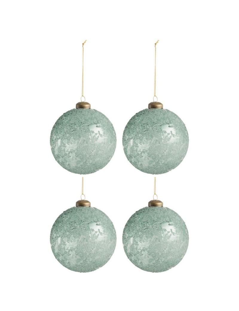 Boite De 4 Boules Verre Transparent Azur M