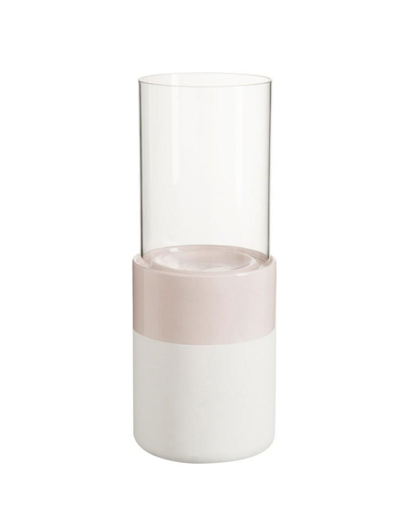 Photophore Ceramique Rose/Blanc