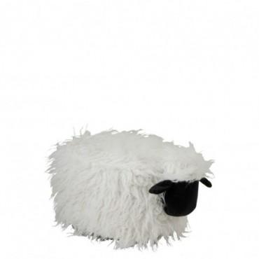Pouf Mouton Textile Ecru/Noir