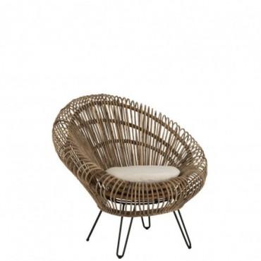 Siège Lounge Vivi Avec Coussin Rotin/Fer Naturel
