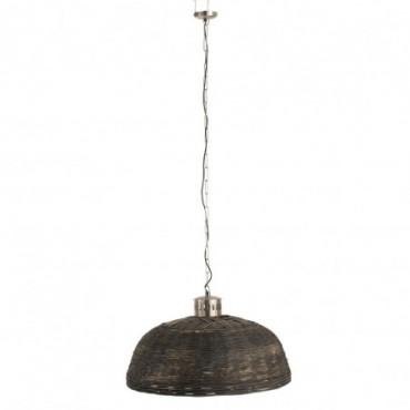 Lampe Suspendue Ronde Bambou Noir L