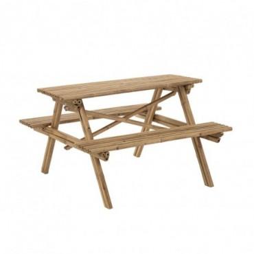 Table de jardin en Bambou avec bancs intégrés