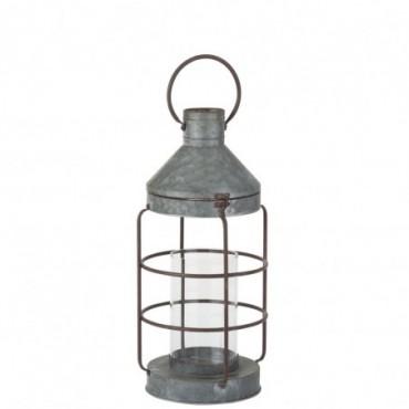 Lanterne Ronde Metal Gris/Rouille Grande taille