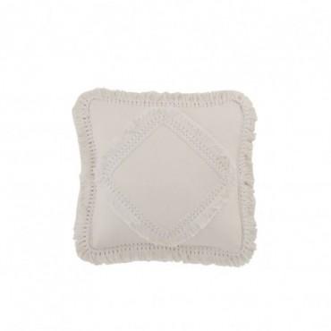 Coussin Fringe Square Cotton White