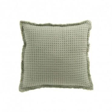 Coussin Gaufre Coton Vert Clair
