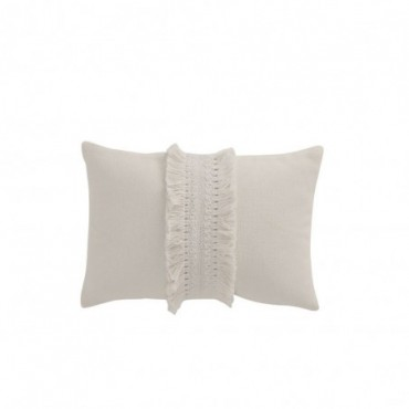 Coussin Rectangular Tassel Band Cotton White