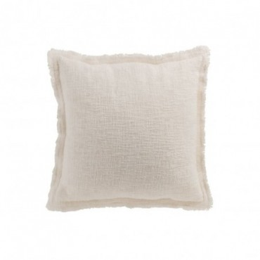 Coussin Uni Tisse Coton Blanc