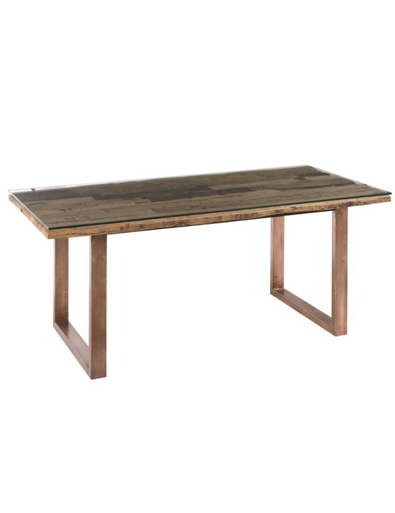 Table Moderne Metal/Bois/Verre Cuivre/Naturel