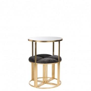 Table + 4 Chaises Metal/Textile Or/Noir