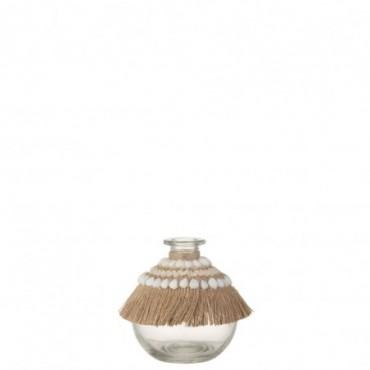 Vase Boho Coquillage Verre Jute Naturel Petite taille