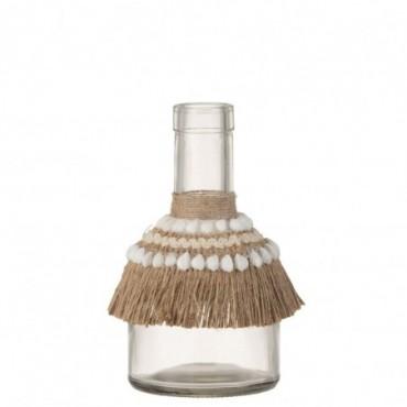 Vase Boho Coquillage Verre Jute Naturel Taille moyenne