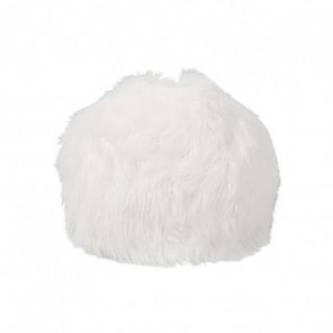 Pouf Poils Large Fourrure Blanc