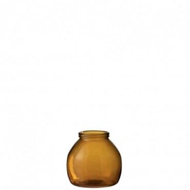 Vase Boule Verre Ocre