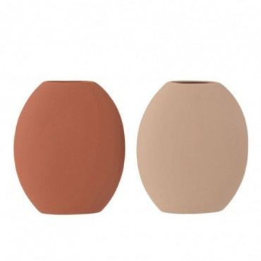 Vase Haut Plat Ceramique Terracotta/Beige Assortiment De 2