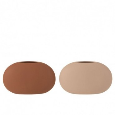 Vase Ovale Plat Ceramique Beige/Marron Assortiment De 2