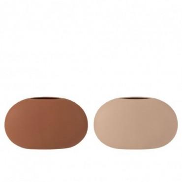Vase Ovale Plat Ceramique Beige/Marron Assortiment De 2