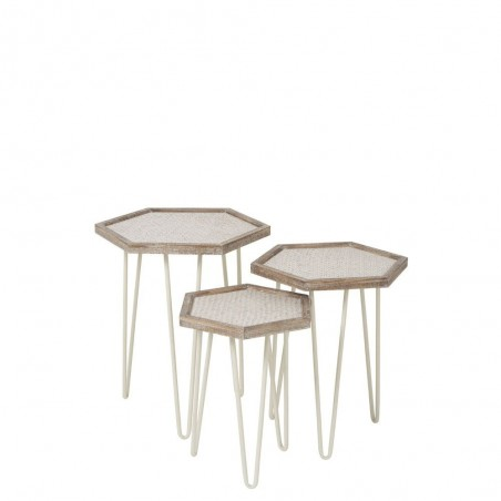 Set De 3 Tables Gigogne Hexagonale Metal/Sapin Creme/Naturel