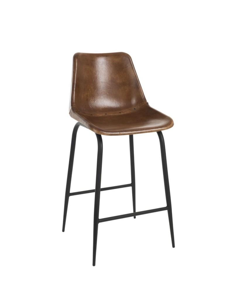 Chaise Bar Cuir/Metal Cognac