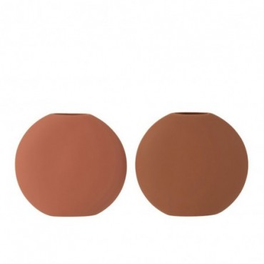 Vase Rond Plat Ceramique Terracotta/Marron Assortiment De 2