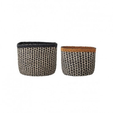 Set de 2 paniers Bloomingville en Abaca couleur naturel, noir, orange