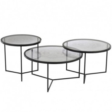 Set De 3 Tables Gigogne Cercles Metal/Verre Noir