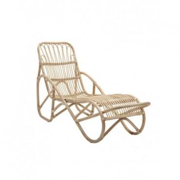 Chaise longue Costa / Rotin - Avec matelas - gris,naturel en fibre...