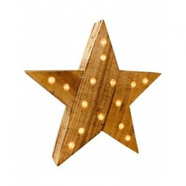 Etoile en bois style rustique avec LEDs 30cm