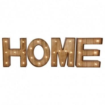 Lettres deco bois HOME avec lumières LED