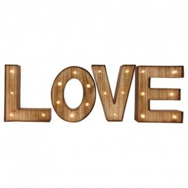 Lettres deco bois LOVE avec lumières LED
