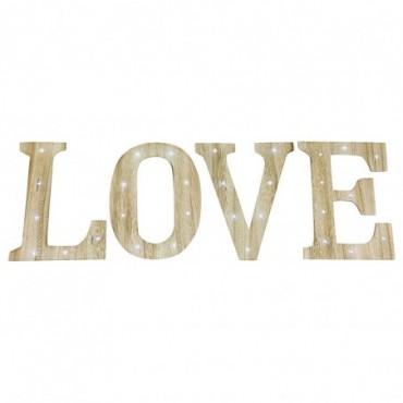 Lettres deco bois clair LOVE avec lumières LED