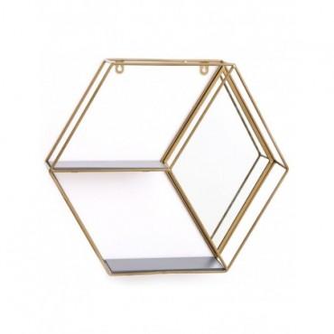 Etagère murale Hexagonale Or 2 niveaux avec miroirs
