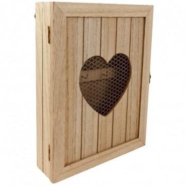 Armoire à clé murale en bois rustique avec cœur 26cm