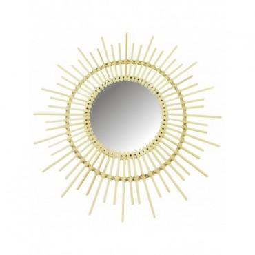 Miroir soleil en rotin 51cm