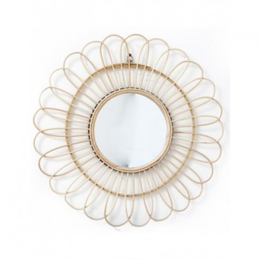 Miroir rond avec contours en rotin 51cm