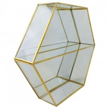 Etagère murale Hexagonale dorée avec miroirs 29cm