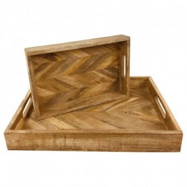 Plateaux rectangulaires en bois x2