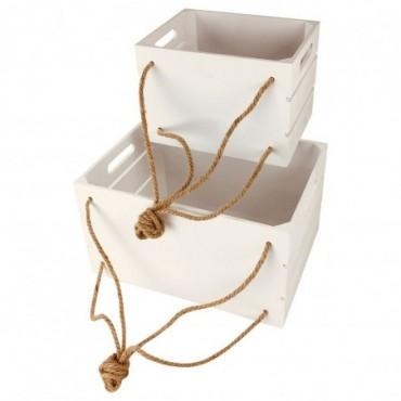 Caisses en bois blanc à suspendre x2