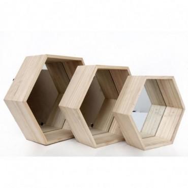 Etagères murales hexagonales x3 en bois avec miroir