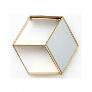 Etagère murale hexagonale or avec miroir